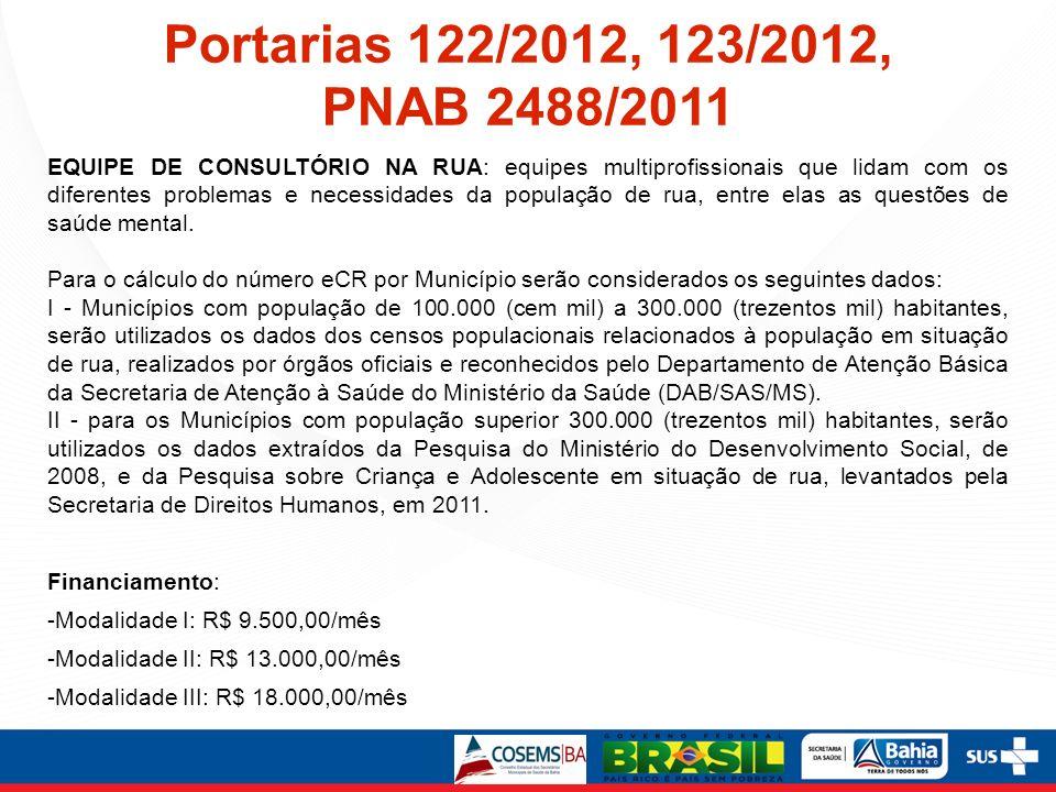Portarias 122/2012, 123/2012, PNAB 2488/2011 EQUIPE DE CONSULTÓRIO NA RUA: equipes multiprofissionais que lidam com os diferentes problemas e necessid