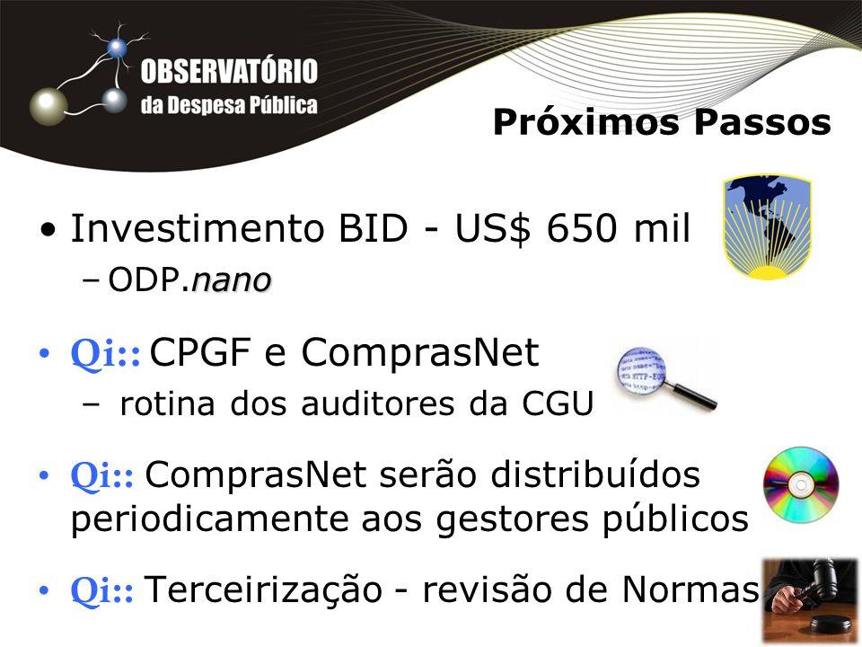 Próximos Passos Investimento BID - US$ 650 mil nano –ODP.nano Qi:: CPGF e ComprasNet – rotina dos auditores da CGU Qi:: ComprasNet serão distribuídos periodicamente aos gestores públicos Qi:: Terceirização - revisão de Normas