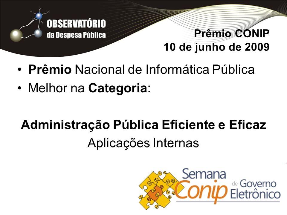 Prêmio CONIP 10 de junho de 2009 Prêmio Nacional de Informática Pública Melhor na Categoria: Administração Pública Eficiente e Eficaz Aplicações Internas