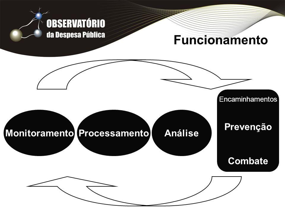 Funcionamento MonitoramentoProcessamentoAnálise Encaminhamentos Prevenção Combate