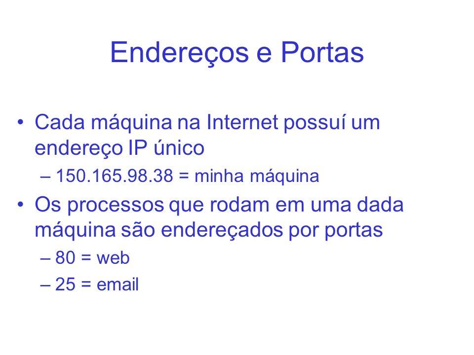 Endereços e Portas Cada máquina na Internet possuí um endereço IP único –150.165.98.38 = minha máquina Os processos que rodam em uma dada máquina são
