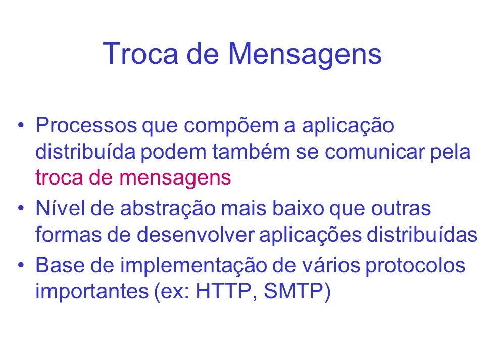 Troca de Mensagens Processos que compõem a aplicação distribuída podem também se comunicar pela troca de mensagens Nível de abstração mais baixo que o