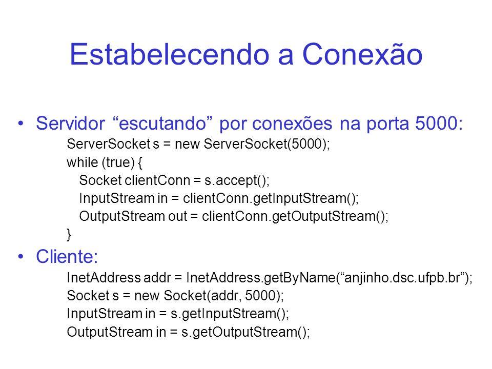 Estabelecendo a Conexão Servidor escutando por conexões na porta 5000: ServerSocket s = new ServerSocket(5000); while (true) { Socket clientConn = s.a