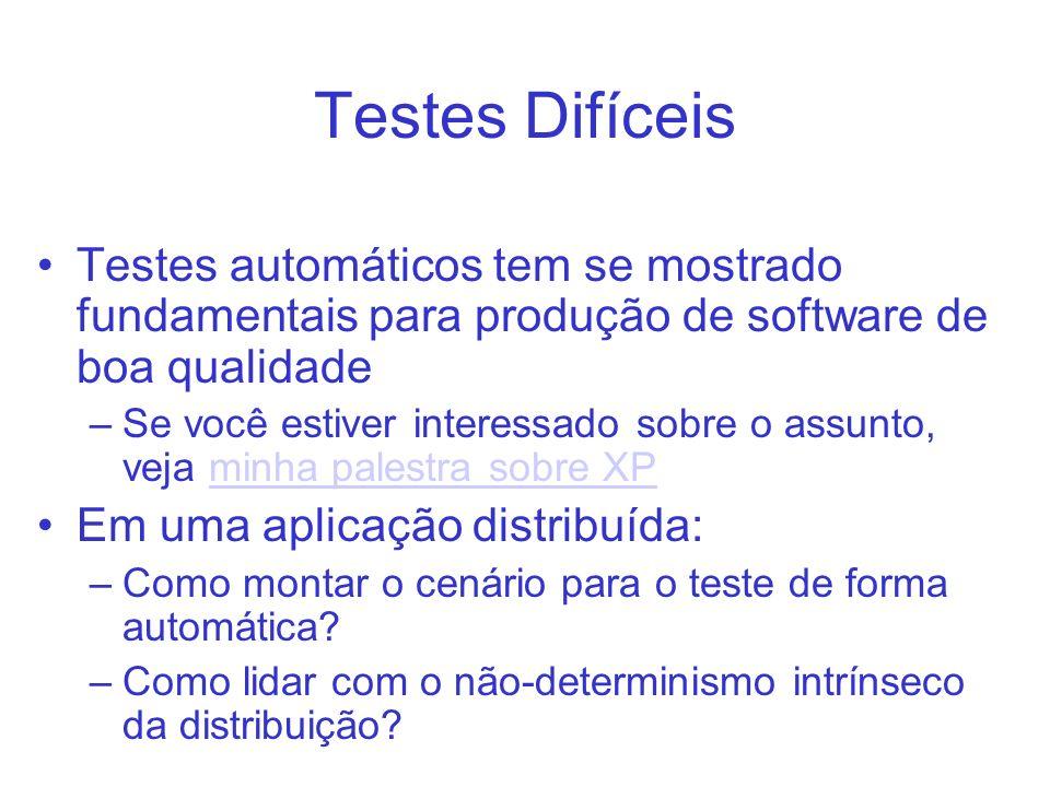 Testes Difíceis Testes automáticos tem se mostrado fundamentais para produção de software de boa qualidade –Se você estiver interessado sobre o assunt