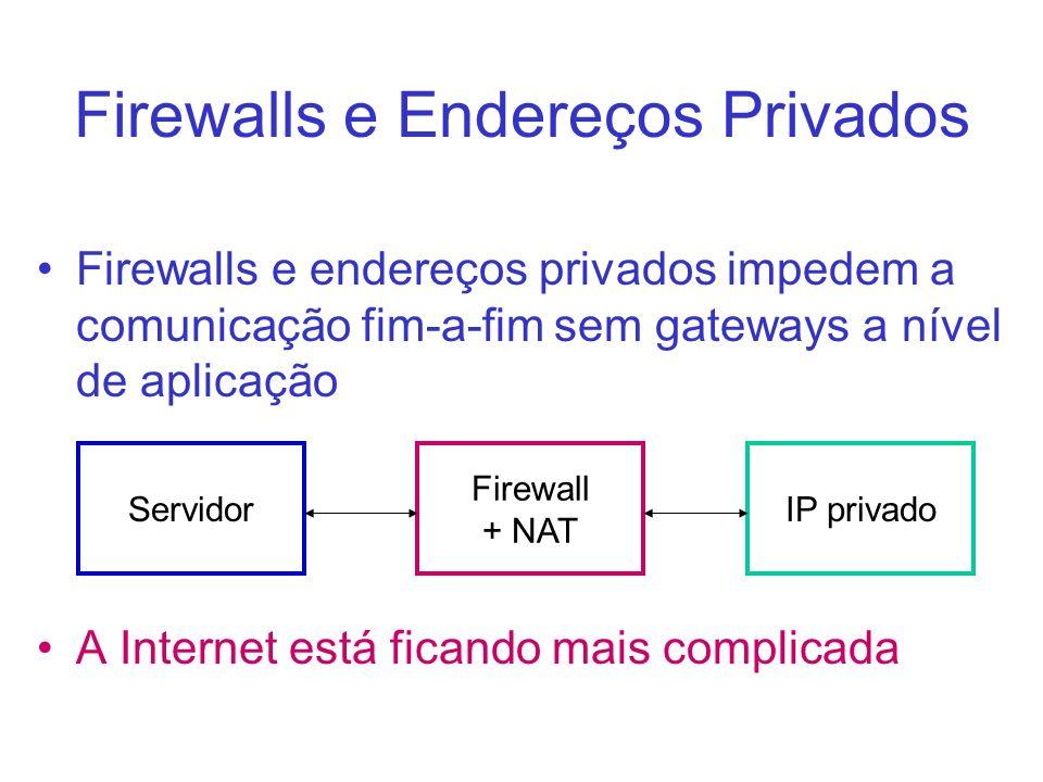 Firewalls e Endereços Privados Firewalls e endereços privados impedem a comunicação fim-a-fim sem gateways a nível de aplicação A Internet está ficand
