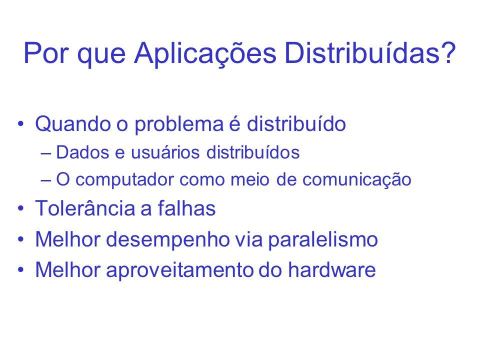 Pequeno Exemplo RMI Interface Servidor Cliente rmic Aritmetica.class gera: –Aritmetica_Stub.class –Aritmetica_Skel.class Objetos precisam ser Serializable para poderem ser transferidos