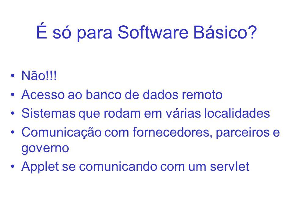 É só para Software Básico? Não!!! Acesso ao banco de dados remoto Sistemas que rodam em várias localidades Comunicação com fornecedores, parceiros e g