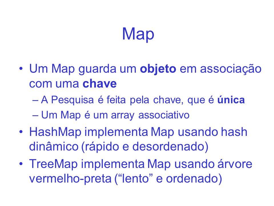 Map Um Map guarda um objeto em associação com uma chave –A Pesquisa é feita pela chave, que é única –Um Map é um array associativo HashMap implementa