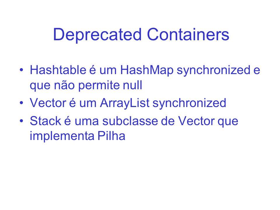 Deprecated Containers Hashtable é um HashMap synchronized e que não permite null Vector é um ArrayList synchronized Stack é uma subclasse de Vector qu