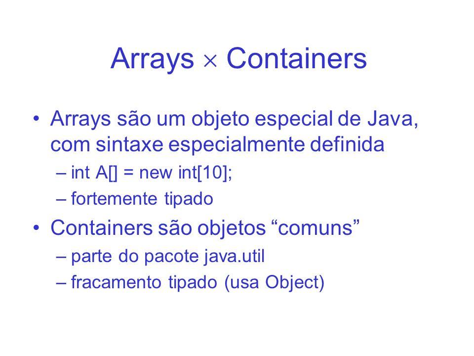 Arrays Array é um tipo embutido da linguagem –fortemente tipado –sintaxe especial para uso Array é um objeto –referências são utilizadas Array é uma sequência linear de acesso randômico –o tamanho do array não pode ser alterado –o método lenght() retorna o tamanho do array Array é eficiente (embora não seja flexivel)