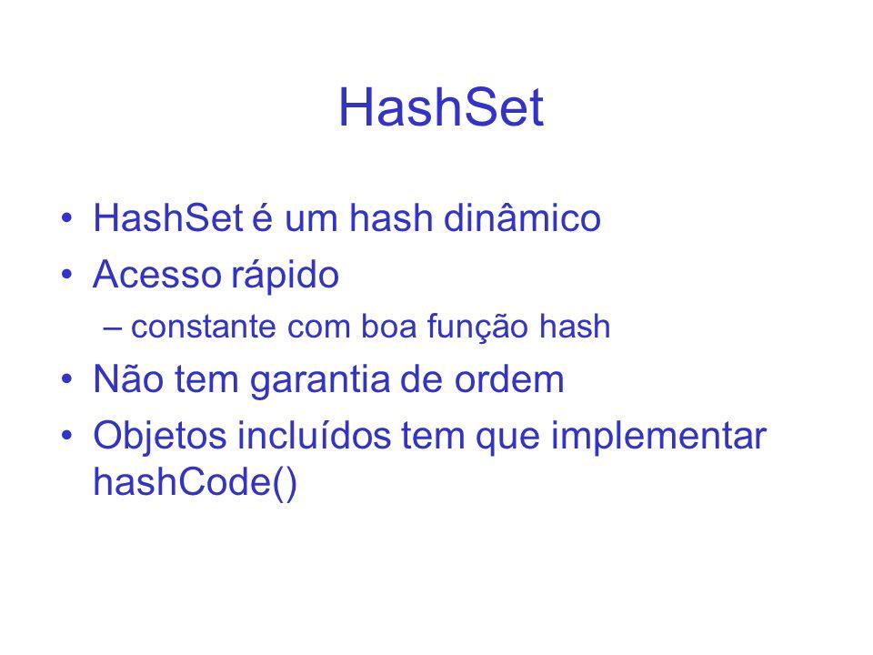 HashSet HashSet é um hash dinâmico Acesso rápido –constante com boa função hash Não tem garantia de ordem Objetos incluídos tem que implementar hashCo