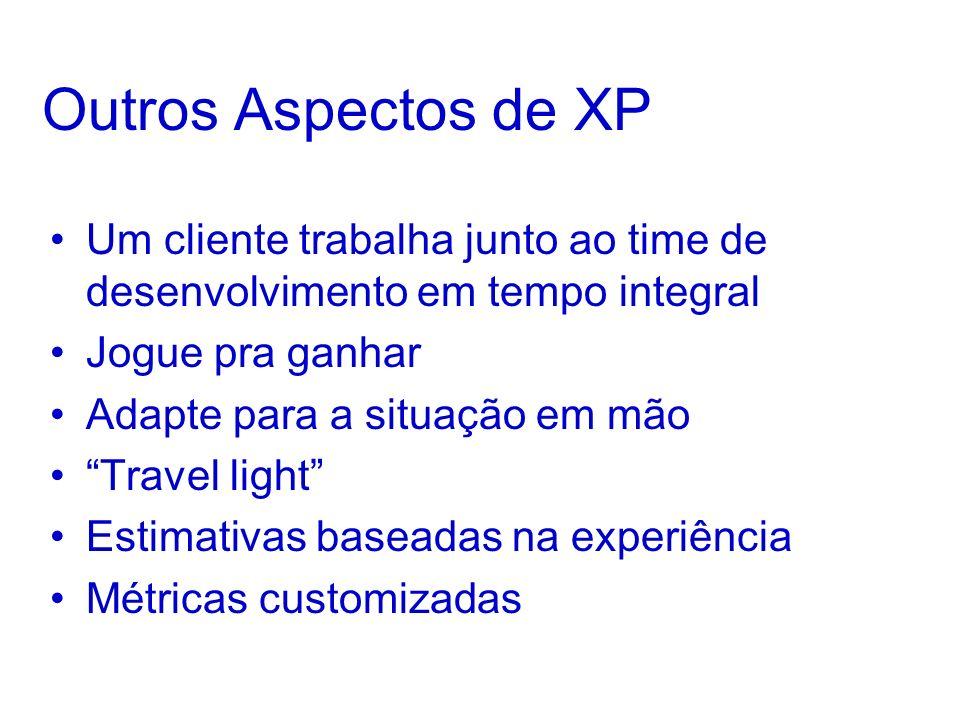 Outros Aspectos de XP Um cliente trabalha junto ao time de desenvolvimento em tempo integral Jogue pra ganhar Adapte para a situação em mão Travel light Estimativas baseadas na experiência Métricas customizadas