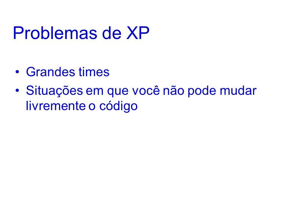 Problemas de XP Grandes times Situações em que você não pode mudar livremente o código