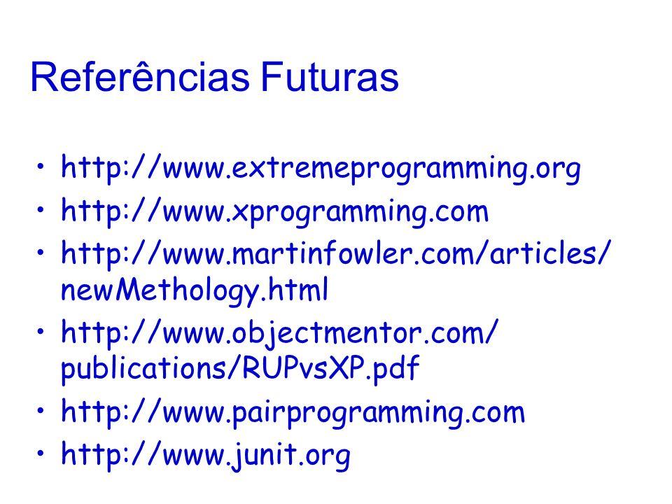 Referências Futuras http://www.extremeprogramming.org http://www.xprogramming.com http://www.martinfowler.com/articles/ newMethology.html http://www.objectmentor.com/ publications/RUPvsXP.pdf http://www.pairprogramming.com http://www.junit.org
