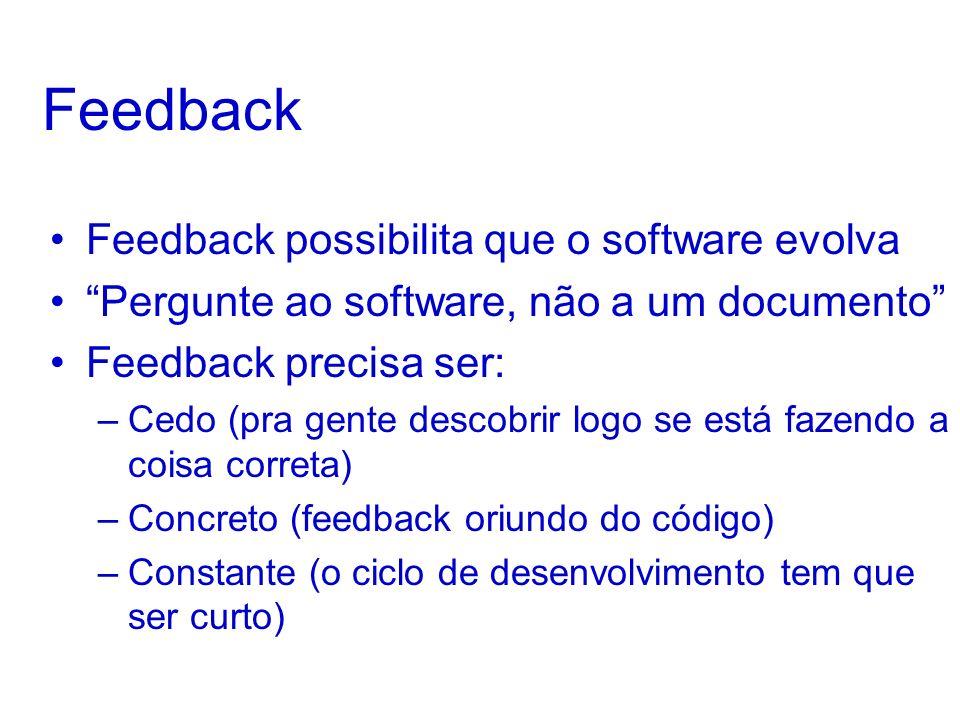 Feedback Feedback possibilita que o software evolva Pergunte ao software, não a um documento Feedback precisa ser: –Cedo (pra gente descobrir logo se