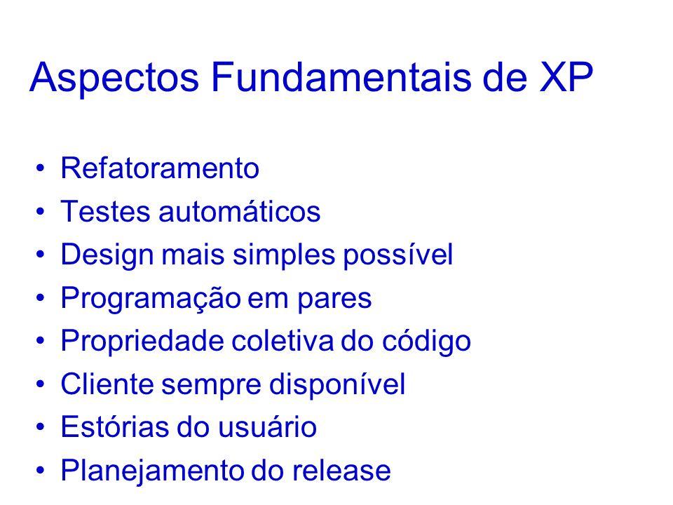 Aspectos Fundamentais de XP Refatoramento Testes automáticos Design mais simples possível Programação em pares Propriedade coletiva do código Cliente