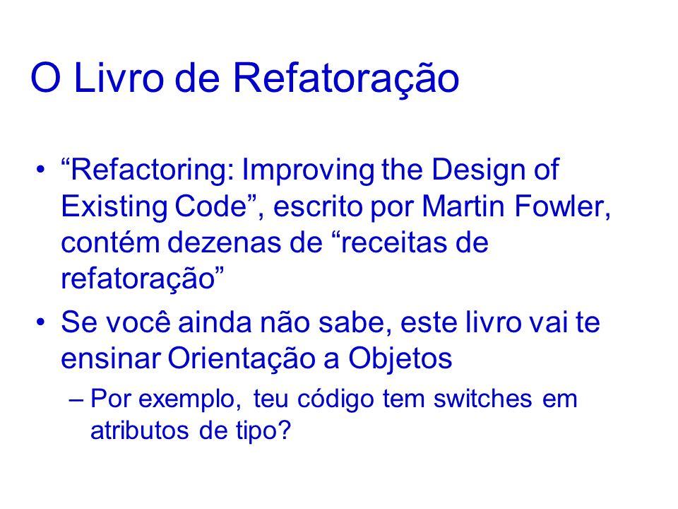 O Livro de Refatoração Refactoring: Improving the Design of Existing Code, escrito por Martin Fowler, contém dezenas de receitas de refatoração Se voc