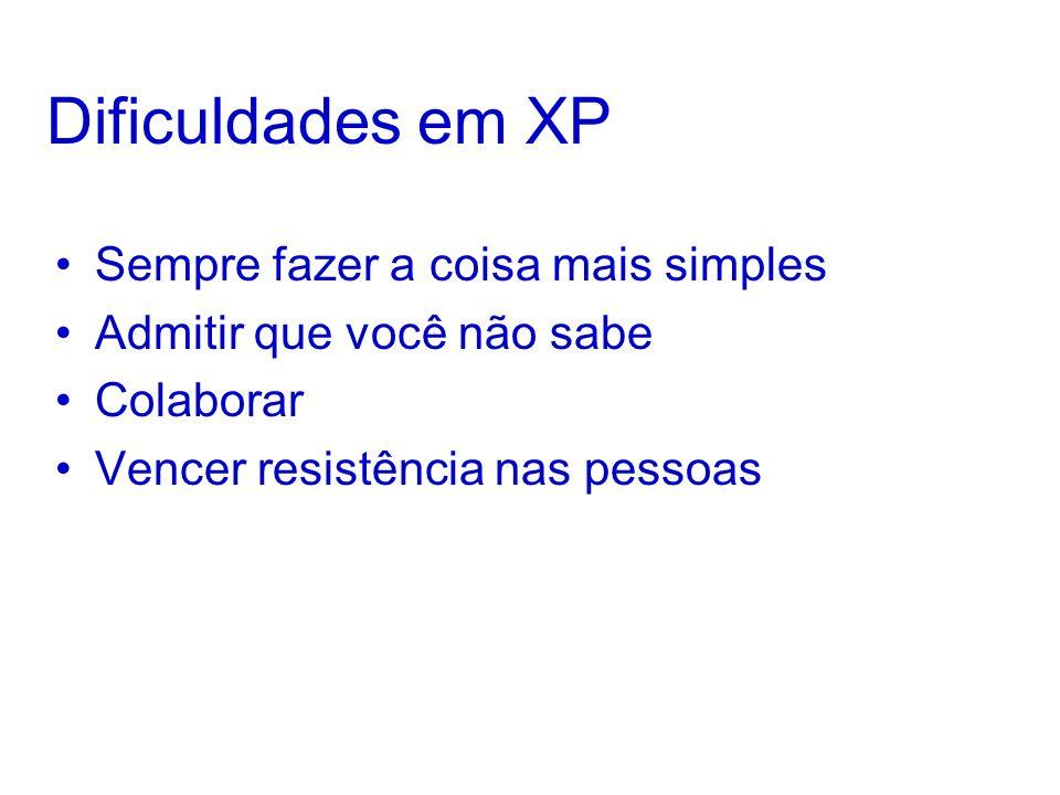 Dificuldades em XP Sempre fazer a coisa mais simples Admitir que você não sabe Colaborar Vencer resistência nas pessoas