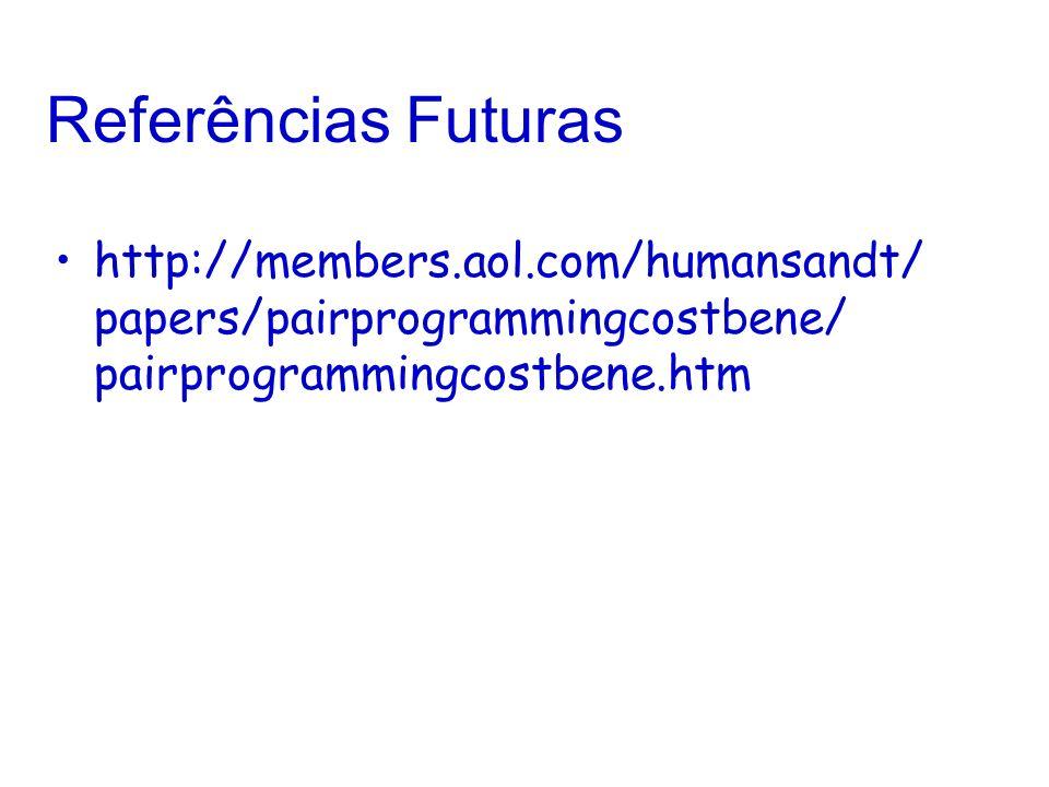 Referências Futuras http://members.aol.com/humansandt/ papers/pairprogrammingcostbene/ pairprogrammingcostbene.htm