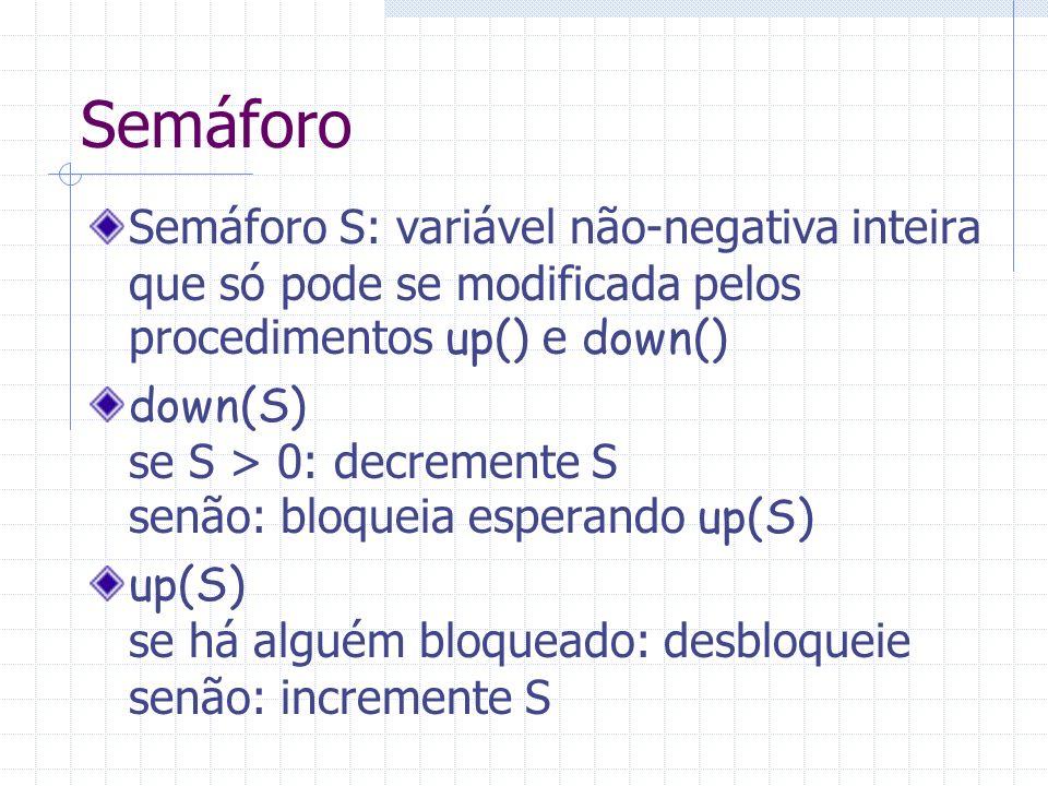 Semáforo Semáforo S: variável não-negativa inteira que só pode se modificada pelos procedimentos up() e down() down(S) se S > 0: decremente S senão: b