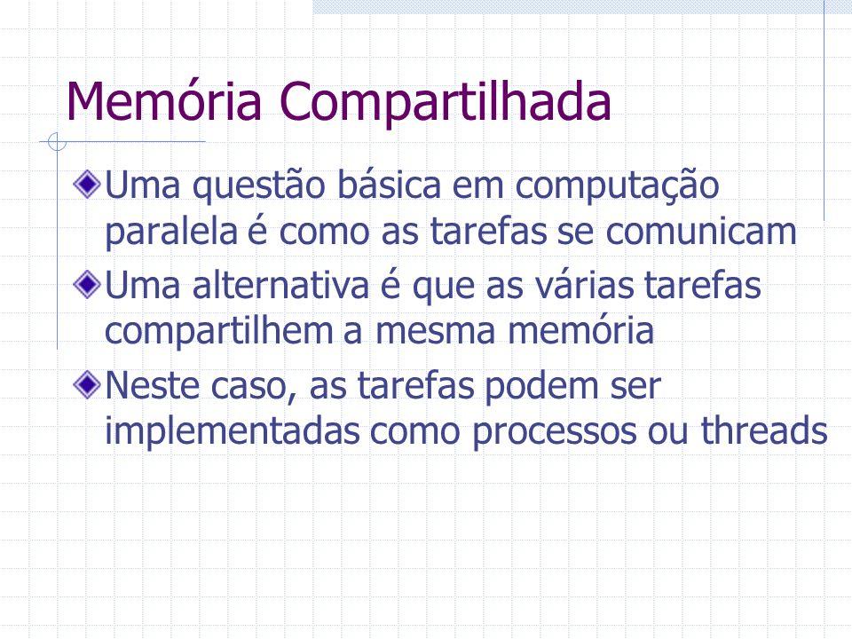 Memória Compartilhada Uma questão básica em computação paralela é como as tarefas se comunicam Uma alternativa é que as várias tarefas compartilhem a