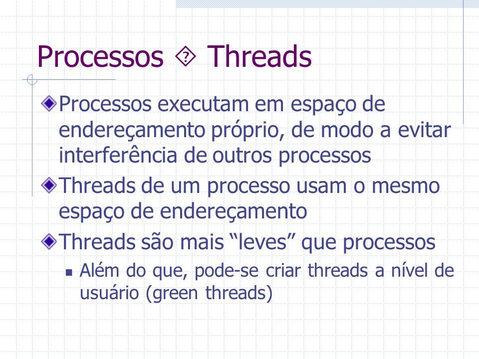 Processos Threads Processos executam em espaço de endereçamento próprio, de modo a evitar interferência de outros processos Threads de um processo usa