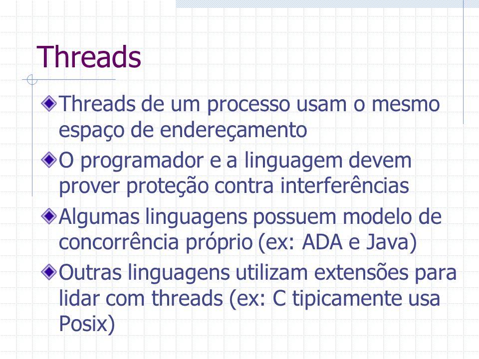 Threads Threads de um processo usam o mesmo espaço de endereçamento O programador e a linguagem devem prover proteção contra interferências Algumas li