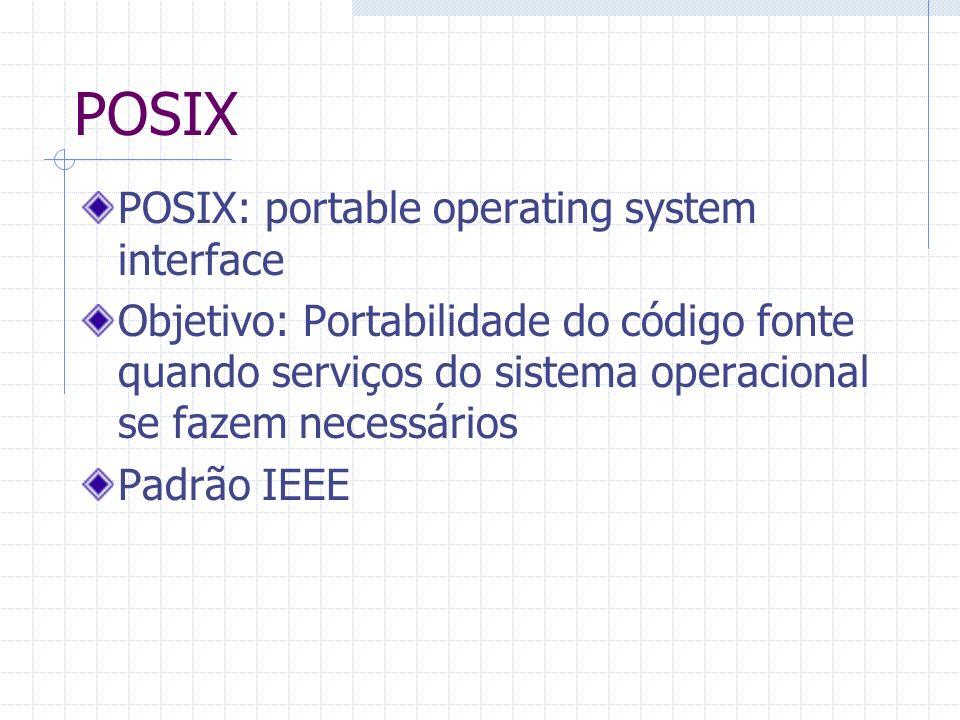 POSIX POSIX: portable operating system interface Objetivo: Portabilidade do código fonte quando serviços do sistema operacional se fazem necessários P