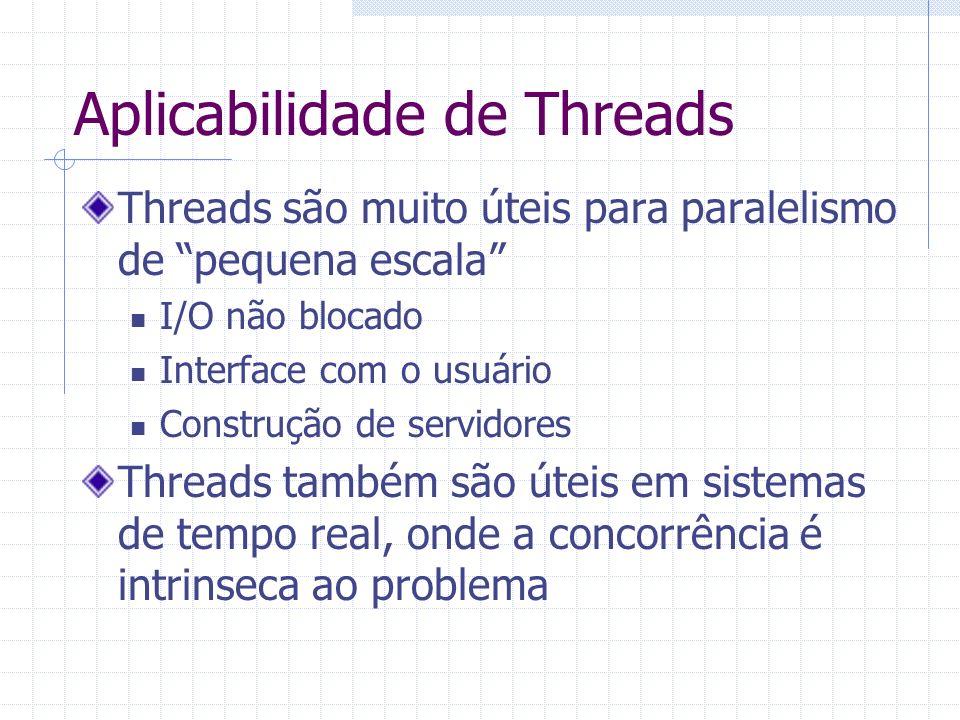 Aplicabilidade de Threads Threads são muito úteis para paralelismo de pequena escala I/O não blocado Interface com o usuário Construção de servidores