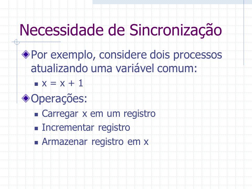 Necessidade de Sincronização Por exemplo, considere dois processos atualizando uma variável comum: x = x + 1 Operações: Carregar x em um registro Incr