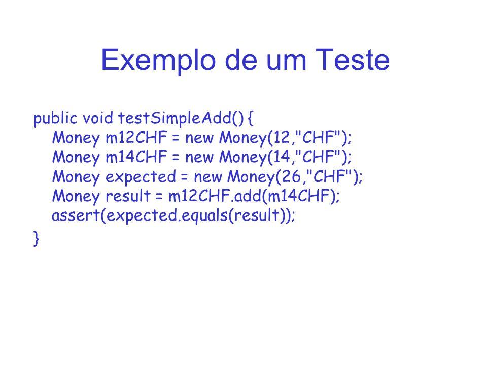 Exemplo de um Teste public void testSimpleAdd() { Money m12CHF = new Money(12, CHF ); Money m14CHF = new Money(14, CHF ); Money expected = new Money(26, CHF ); Money result = m12CHF.add(m14CHF); assert(expected.equals(result)); }