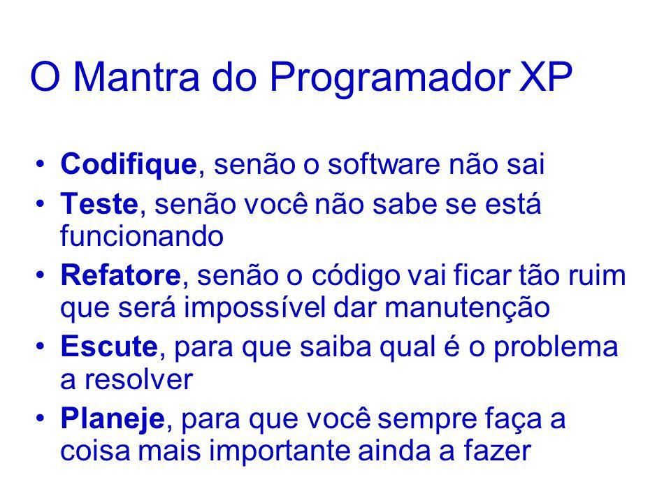 O Mantra do Programador XP Codifique, senão o software não sai Teste, senão você não sabe se está funcionando Refatore, senão o código vai ficar tão ruim que será impossível dar manutenção Escute, para que saiba qual é o problema a resolver Planeje, para que você sempre faça a coisa mais importante ainda a fazer