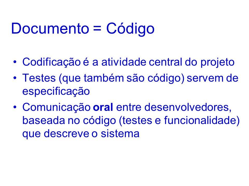 Documento = Código Codificação é a atividade central do projeto Testes (que também são código) servem de especificação Comunicação oral entre desenvolvedores, baseada no código (testes e funcionalidade) que descreve o sistema