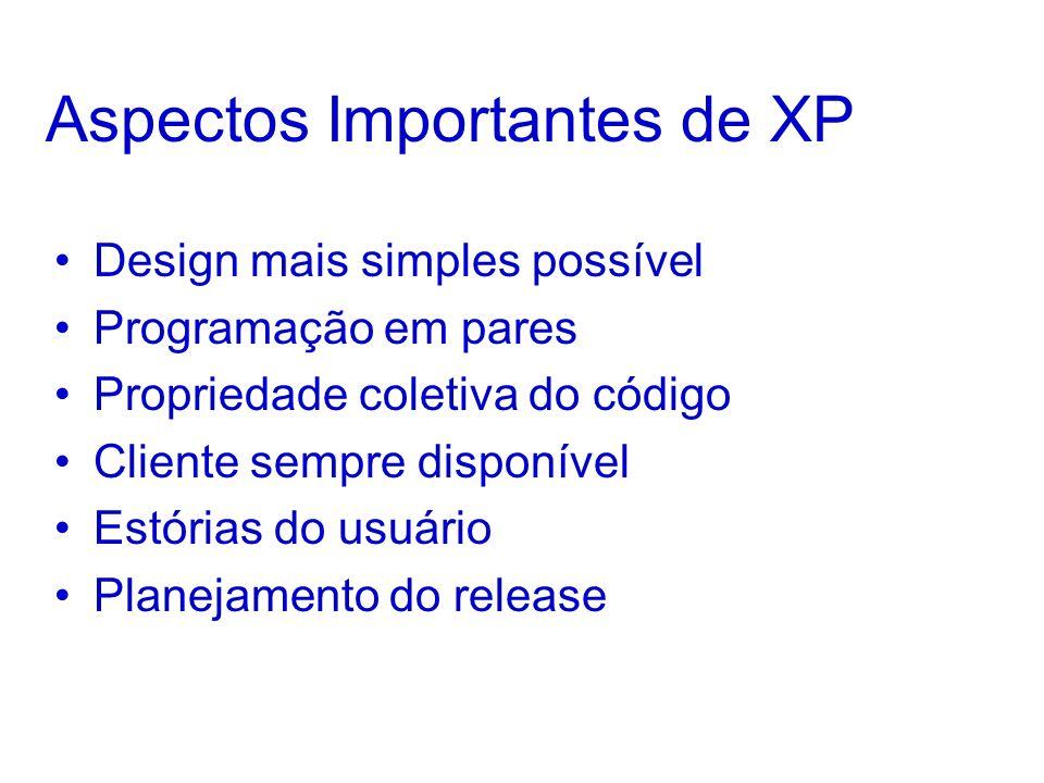 Aspectos Importantes de XP Design mais simples possível Programação em pares Propriedade coletiva do código Cliente sempre disponível Estórias do usuário Planejamento do release