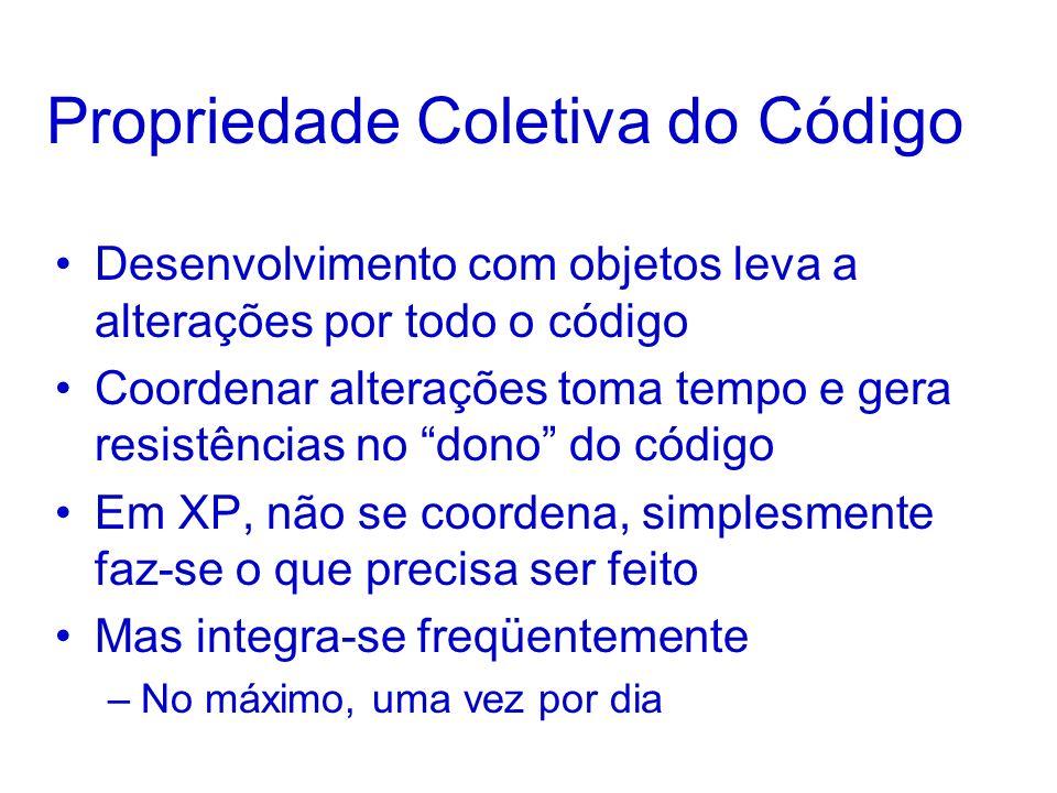 Propriedade Coletiva do Código Desenvolvimento com objetos leva a alterações por todo o código Coordenar alterações toma tempo e gera resistências no dono do código Em XP, não se coordena, simplesmente faz-se o que precisa ser feito Mas integra-se freqüentemente –No máximo, uma vez por dia