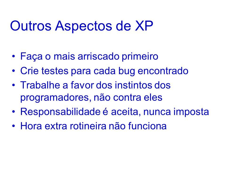Outros Aspectos de XP Faça o mais arriscado primeiro Crie testes para cada bug encontrado Trabalhe a favor dos instintos dos programadores, não contra eles Responsabilidade é aceita, nunca imposta Hora extra rotineira não funciona