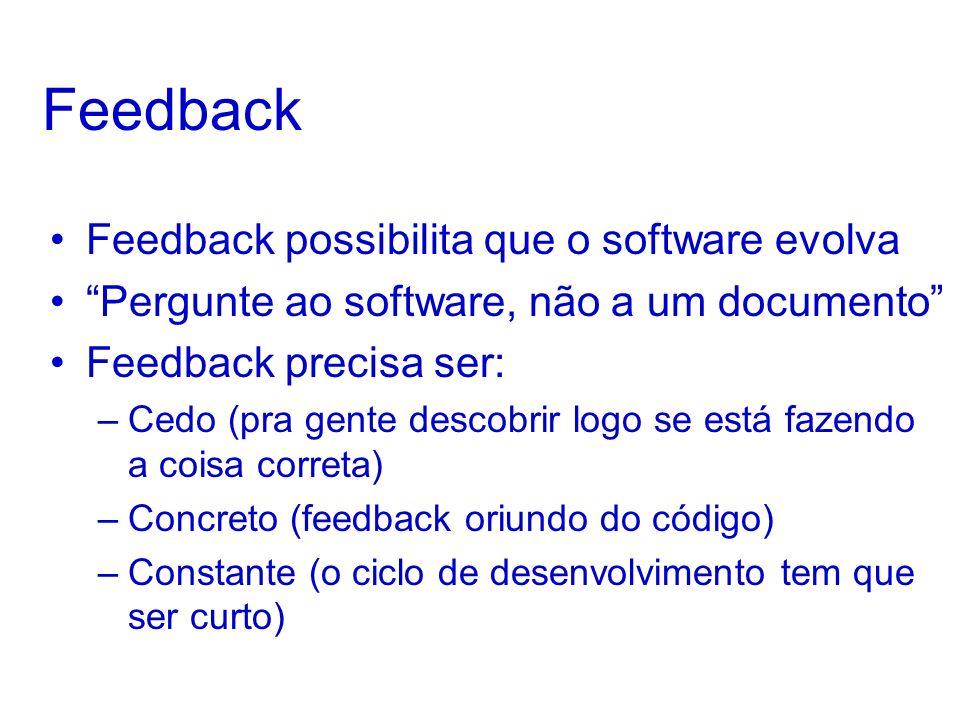 Feedback Feedback possibilita que o software evolva Pergunte ao software, não a um documento Feedback precisa ser: –Cedo (pra gente descobrir logo se está fazendo a coisa correta) –Concreto (feedback oriundo do código) –Constante (o ciclo de desenvolvimento tem que ser curto)