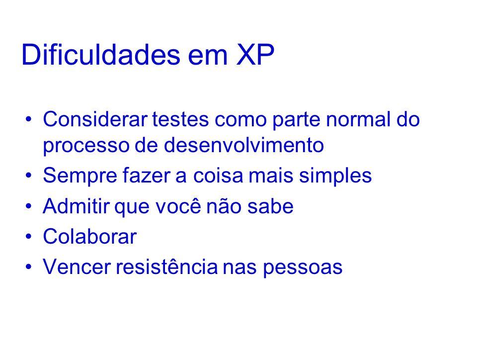 Dificuldades em XP Considerar testes como parte normal do processo de desenvolvimento Sempre fazer a coisa mais simples Admitir que você não sabe Colaborar Vencer resistência nas pessoas