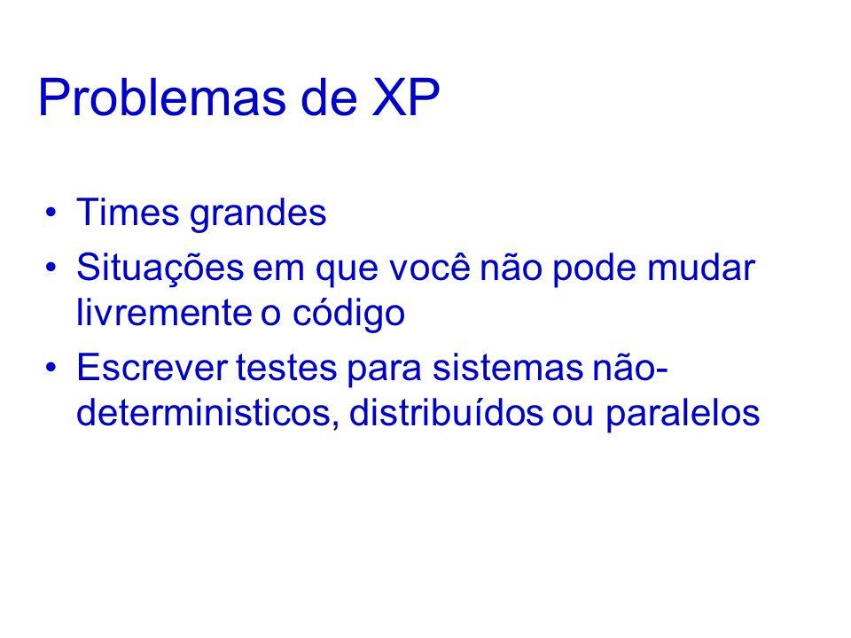 Problemas de XP Times grandes Situações em que você não pode mudar livremente o código Escrever testes para sistemas não- deterministicos, distribuídos ou paralelos