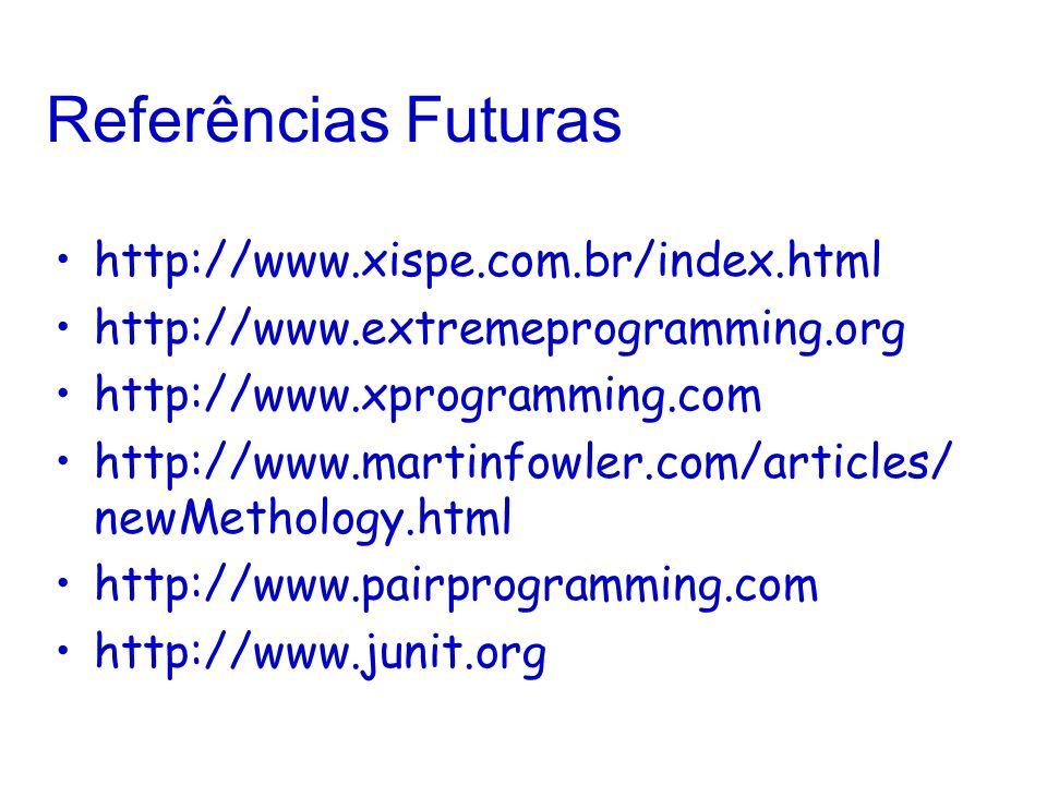 Referências Futuras http://www.xispe.com.br/index.html http://www.extremeprogramming.org http://www.xprogramming.com http://www.martinfowler.com/articles/ newMethology.html http://www.pairprogramming.com http://www.junit.org
