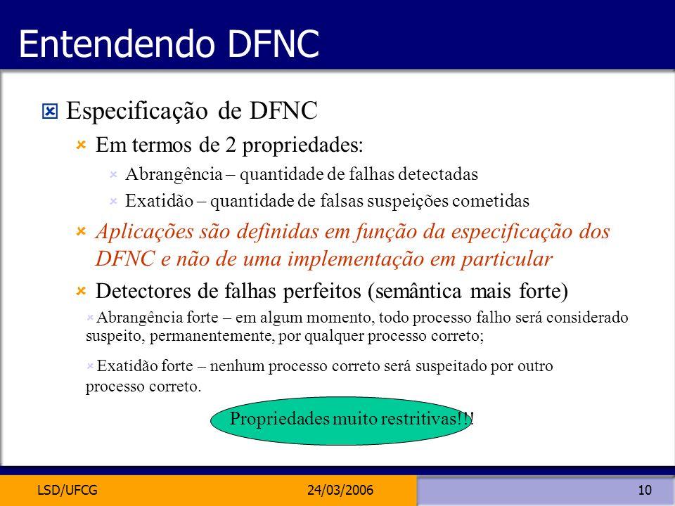 LSD/UFCG24/03/200610 Entendendo DFNC Especificação de DFNC Em termos de 2 propriedades: Abrangência – quantidade de falhas detectadas Exatidão – quant