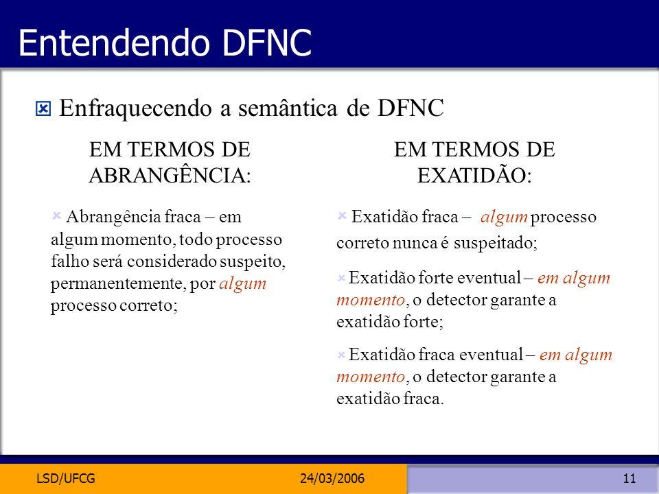 LSD/UFCG24/03/200611 Entendendo DFNC Enfraquecendo a semântica de DFNC EM TERMOS DE ABRANGÊNCIA: Abrangência fraca – em algum momento, todo processo f