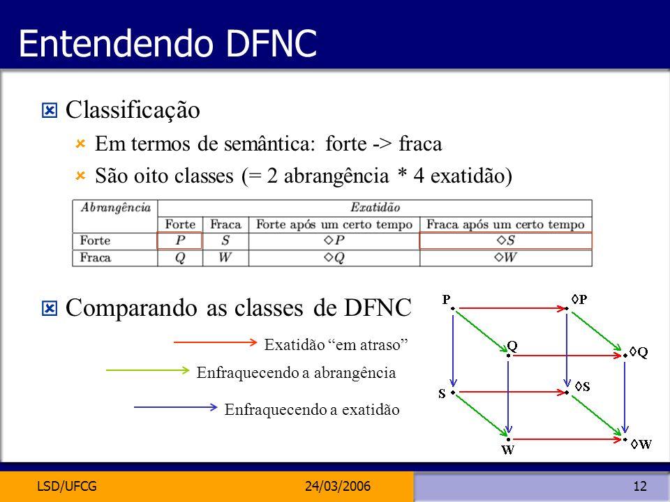 LSD/UFCG24/03/200612 Entendendo DFNC Classificação Em termos de semântica: forte -> fraca São oito classes (= 2 abrangência * 4 exatidão) Comparando a