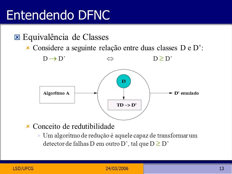 LSD/UFCG24/03/200613 Entendendo DFNC Equivalência de Classes Considere a seguinte relação entre duas classes D e D: D D Conceito de redutibilidade Um