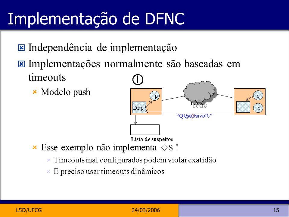 LSD/UFCG24/03/200615 Implementação de DFNC Independência de implementação Implementações normalmente são baseadas em timeouts Modelo push Esse exemplo