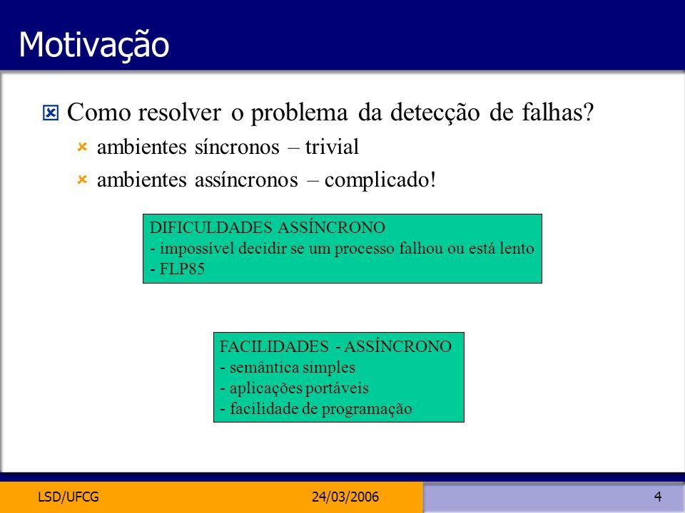 LSD/UFCG24/03/20064 Motivação Como resolver o problema da detecção de falhas? ambientes síncronos – trivial ambientes assíncronos – complicado! FACILI