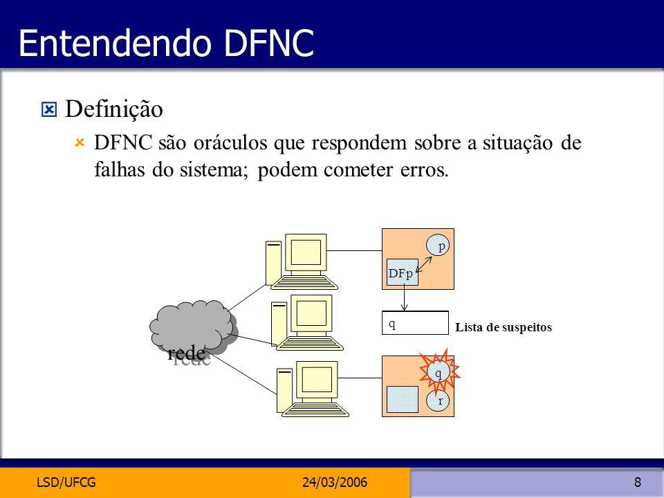 LSD/UFCG24/03/20068 Entendendo DFNC Definição DFNC são oráculos que respondem sobre a situação de falhas do sistema; podem cometer erros. rede q p DFp
