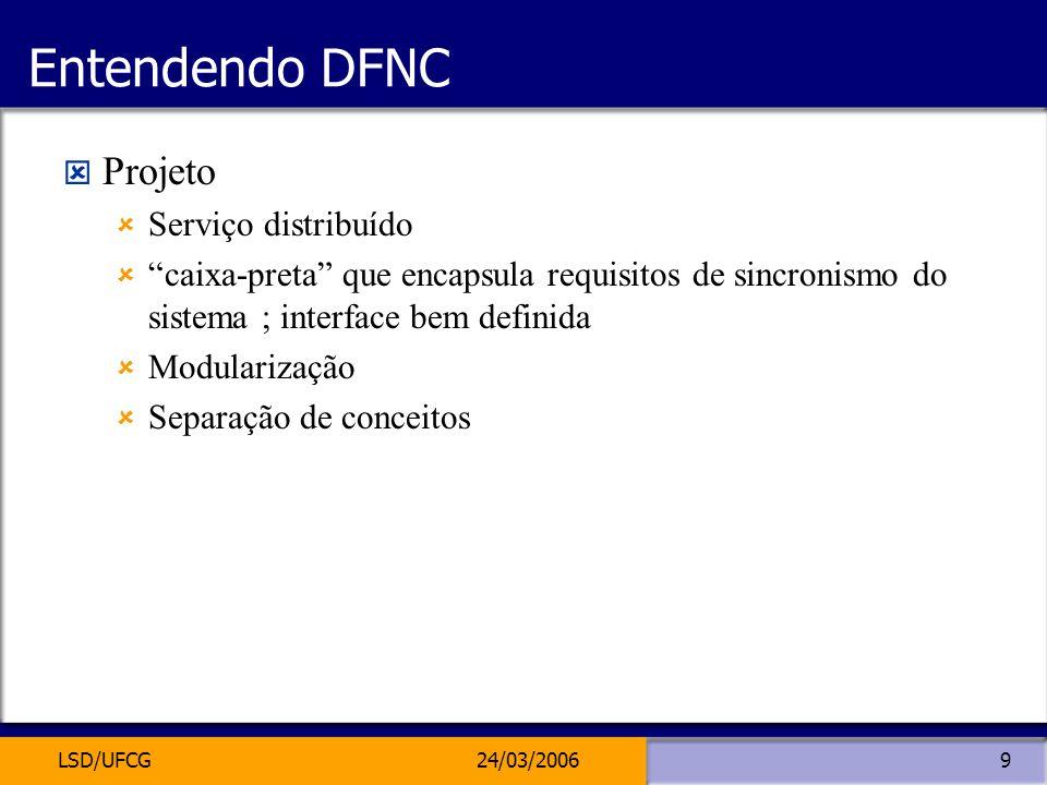 LSD/UFCG24/03/20069 Entendendo DFNC Projeto Serviço distribuído caixa-preta que encapsula requisitos de sincronismo do sistema ; interface bem definid