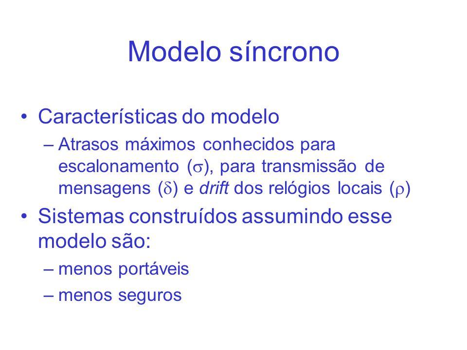 Modelo síncrono Características do modelo –Atrasos máximos conhecidos para escalonamento ( ), para transmissão de mensagens ( ) e drift dos relógios locais ( ) Sistemas construídos assumindo esse modelo são: –menos portáveis –menos seguros