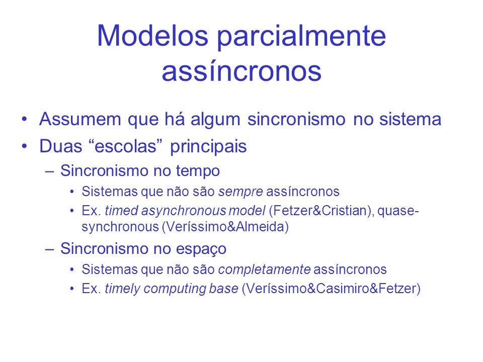 Modelos parcialmente assíncronos Assumem que há algum sincronismo no sistema Duas escolas principais –Sincronismo no tempo Sistemas que não são sempre assíncronos Ex.